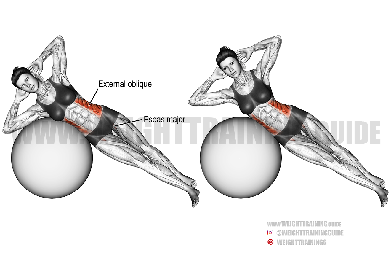 Stability ball side bend exercise