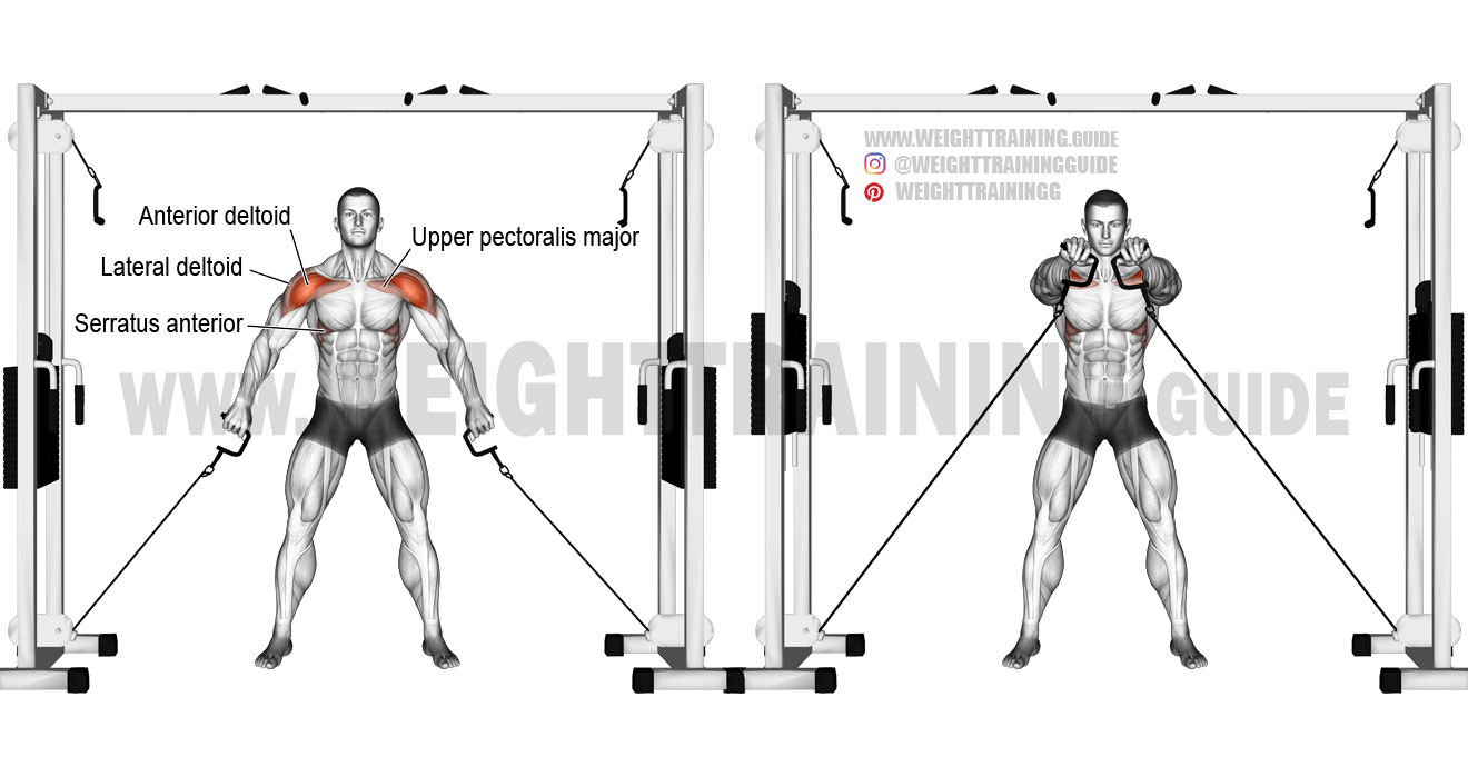 Double cable front raise exercise guide and video