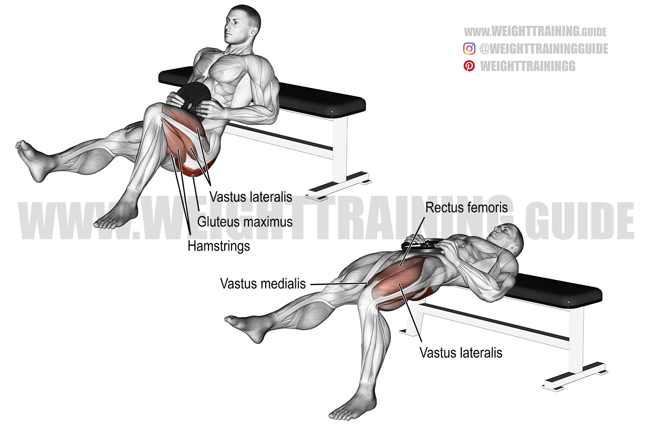 Weighted one-leg hip thrust exercise