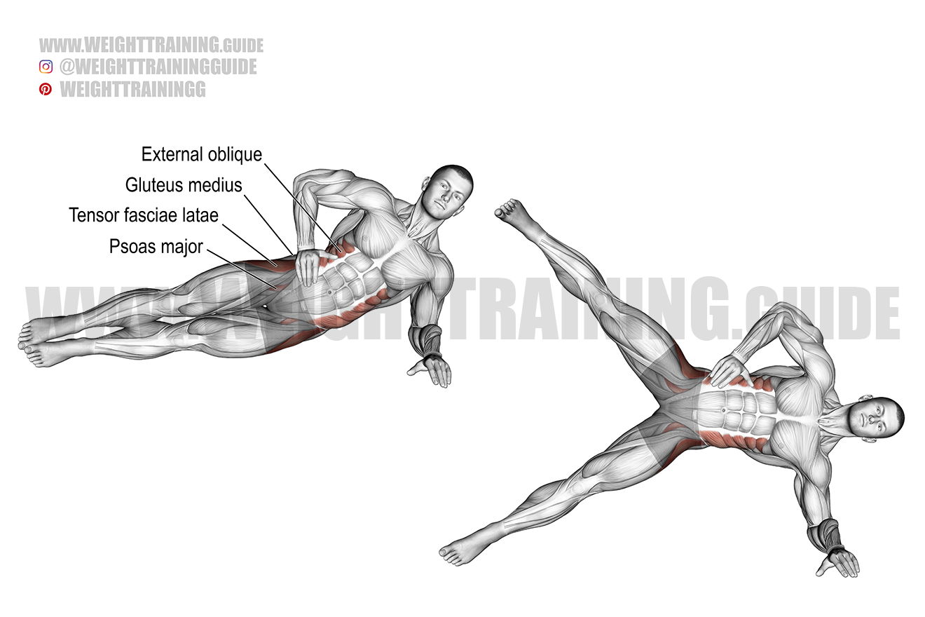 Side plank hip abduction exercise