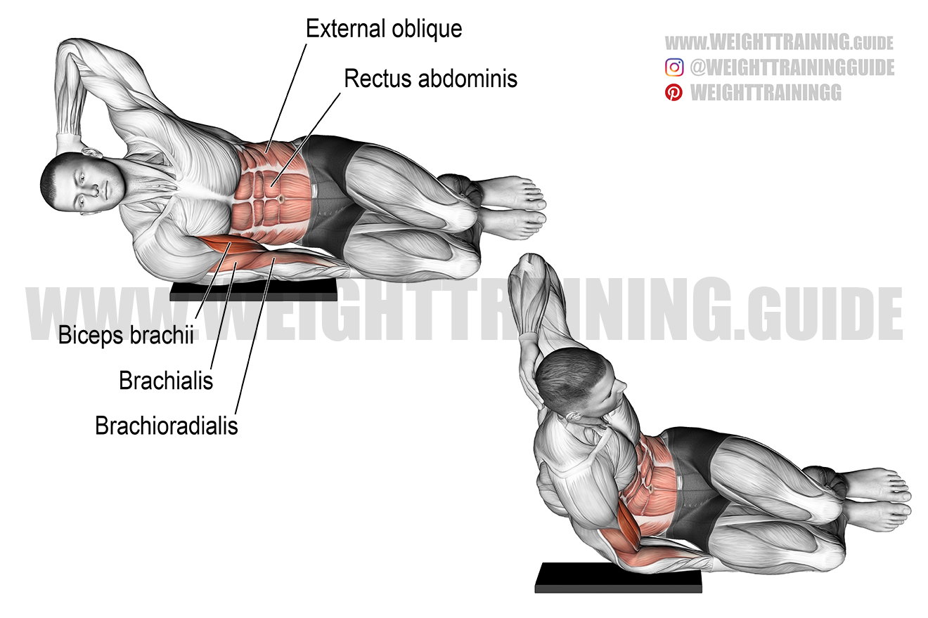 Side-lying biceps bodyweight curl exercise