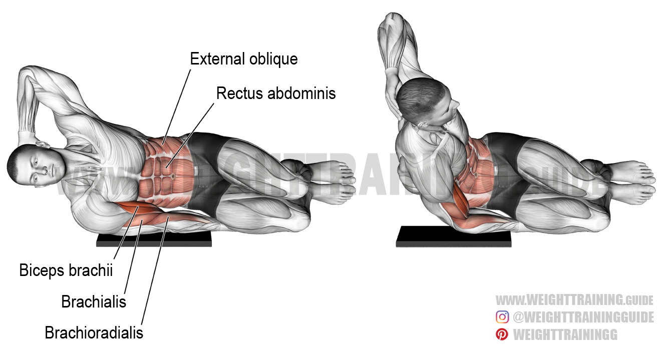 Side-lying biceps bodyweight curl exercise instructions ...