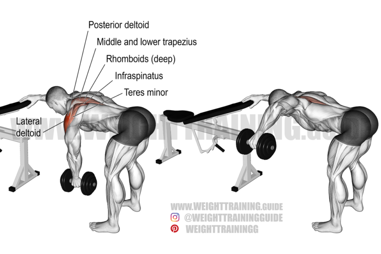 One-arm reverse dumbbell fly