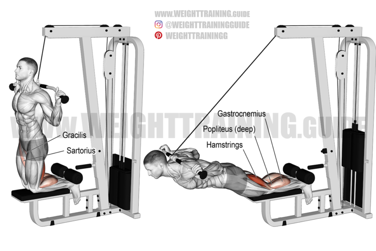Assisted inverse leg curl on lat pull-down machine