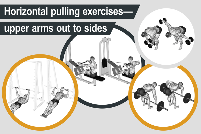 Horizontal pulling exercises—upper arms out to sides