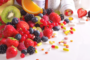 Fruits and vitamins on a table