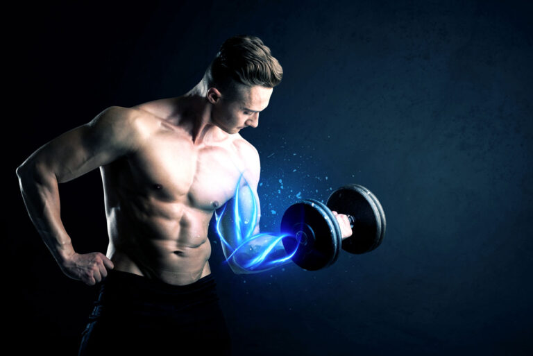 Man lifting dumbbell with biceps glowing