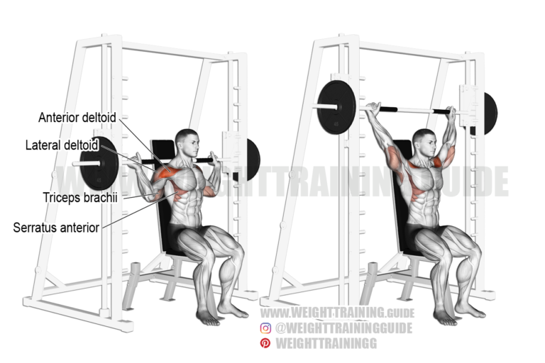 Seated Smith machine behind-the-neck shoulder press